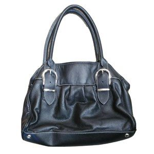 WHBM Medium Black Leather Shoulder Tote Bag